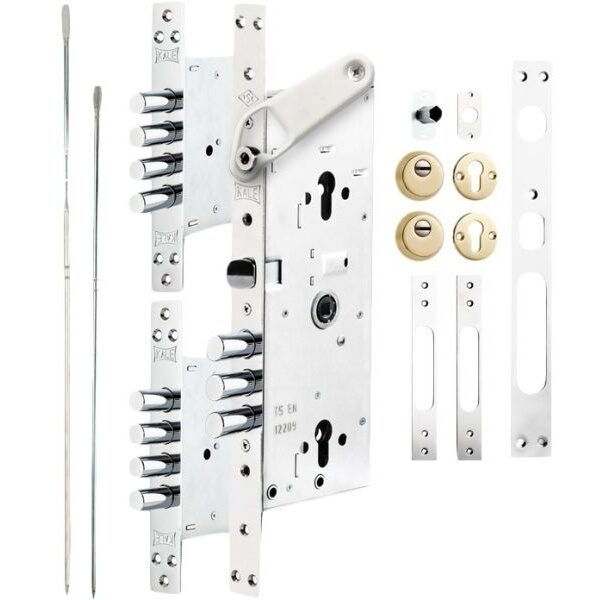 KALE DOOR LOCK MULTI-POINT CENTRAL LOCKING SYSTEM FOR STEEL DOORS WITH CONCEALED DOOR RETAINER WITH BALL BEARING