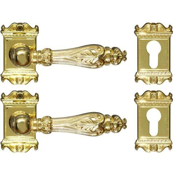 Ghidini Door Handles Cylinder Rosette Gold ia10-01