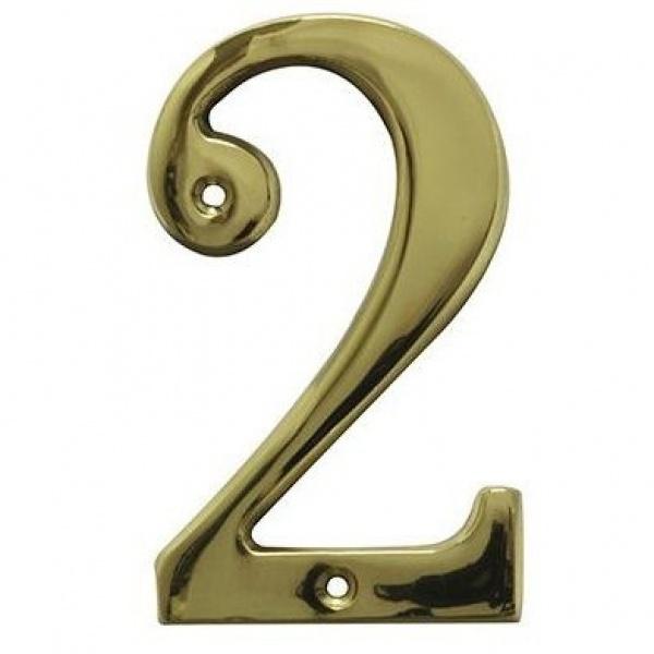 AMIG door numbers Solid Brass Number 2 7182