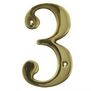 AMIG door numbers Solid Brass Number 3 7183