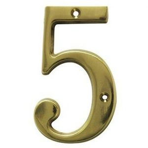 AMIG door numbers Solid Brass Number 5 7185
