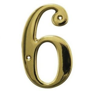 AMIG door numbers Solid Brass Number 6 7186