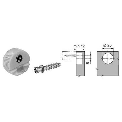 BLUM Knock-in housing and edge mountedcon. screw, centric pos. White