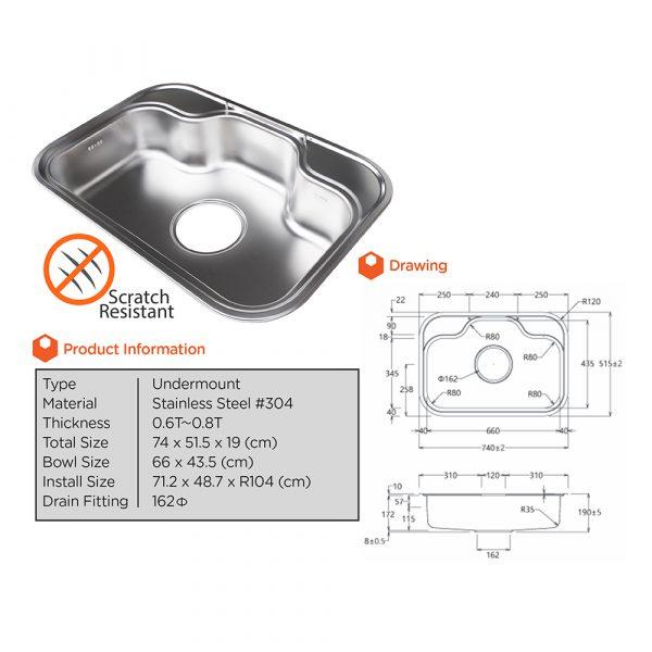 Bekjo Sink Stainless Steel